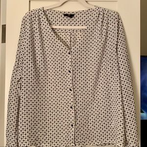 H and M Navy and White patterned blouse